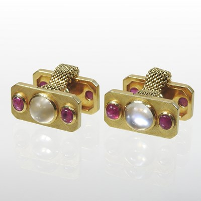 Lot 16 - A pair of Swiss Meister 18 carat gold cufflinks