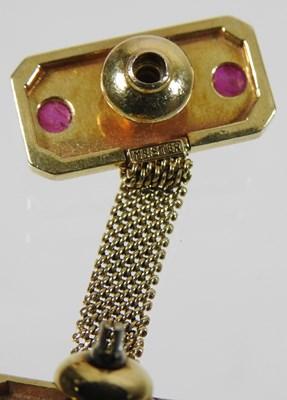 Lot 16 - A pair of Swiss Meister 18 carat gold cufflinks