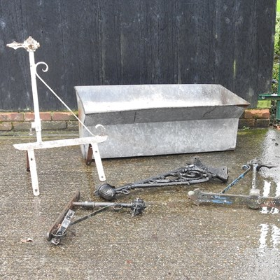 Lot 10 - A galvanised tank, together with various metal brackets