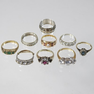 Lot 6 - An antique 15 carat gold, pearl and ruby ring