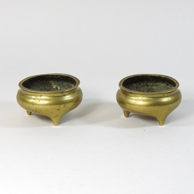 Lot 48 - A pair of Chinese bronze censers