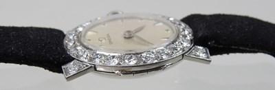 Lot 22 - An Omega platinum cased vintage ladies wristwatch