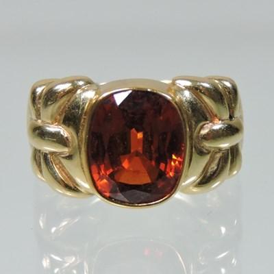 Lot 50 - A 14 carat gold hessonite garnet ring