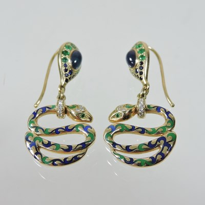 Lot 45 - A pair of 14 carat gold diamond and enamelled snake earrings