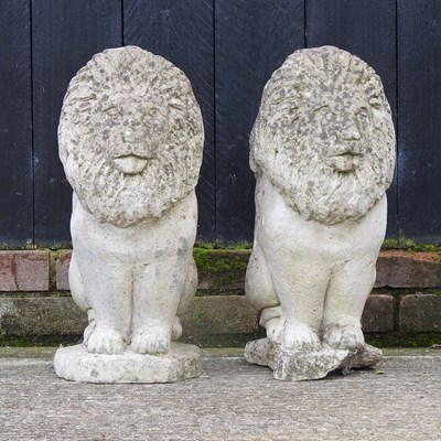 Lot 18 - A pair of reconstituted stone gatepost finials