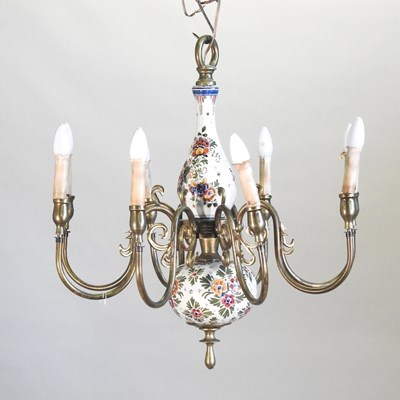 Lot 33 - A floral painted pottery and brass eight branch chandelier