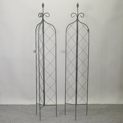 Lot 8 - A pair of metal lattice folding garden spires