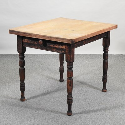 Lot 44 - A Victorian scrubbed pine kitchen table