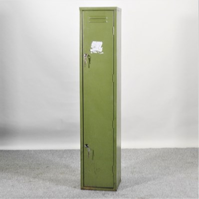 Lot 16 - A green painted metal gun cabinet